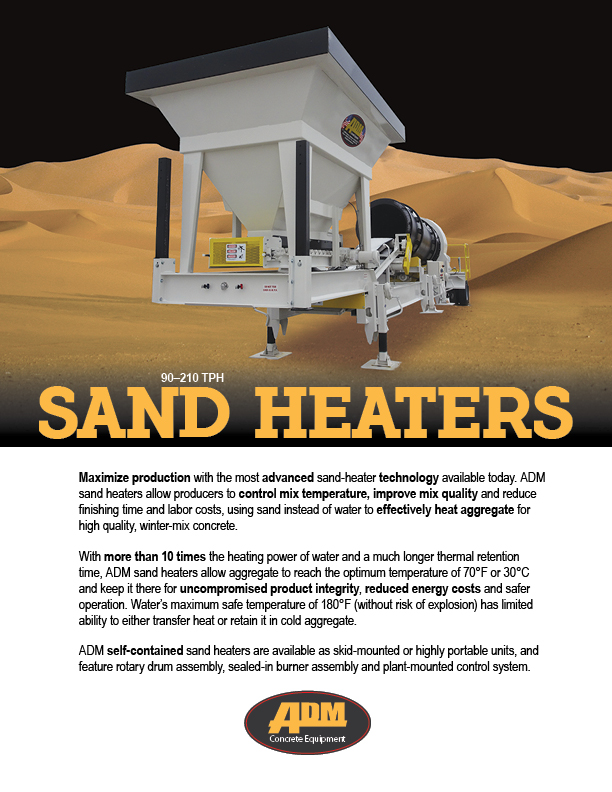ADM Sand Heater sales sheet